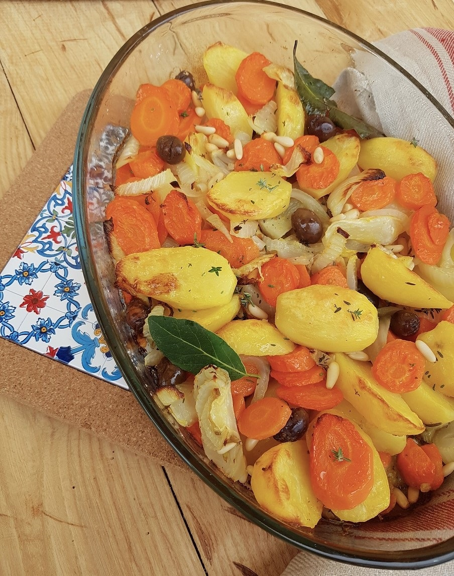 questa immagine rappresenta verdure invernali gratinate ricetta di pasticciandoconlafranca