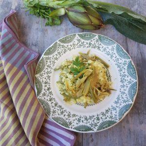 questa immagine rappresenta il risotto ai carciofi ricetta di pasticciandoconlafranca