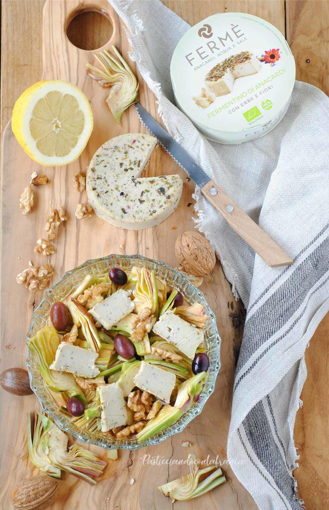 questa immagine rappresenta insalata di carciofi con noci e fermentino ricetta di pasticciandoconlafranca