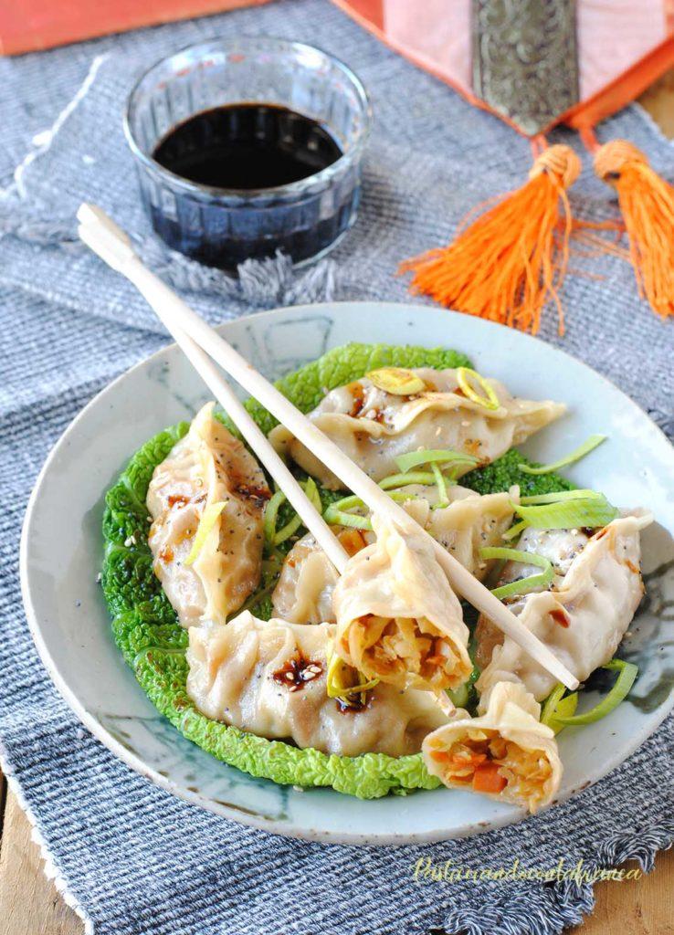 questa immagine rappresenta ravioli vegani al vapore ricetta di pasticciandoconlafranca