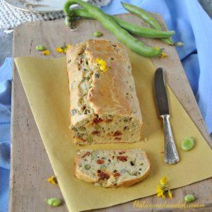 questa immagine rappresenta plumcake salato fave e pomodorini ricetta di pasticciandoconlafranca