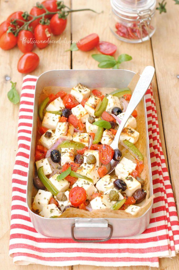 questa immagine rappresenta il tofu alla greca ricetta di pasticciandoconlafranca
