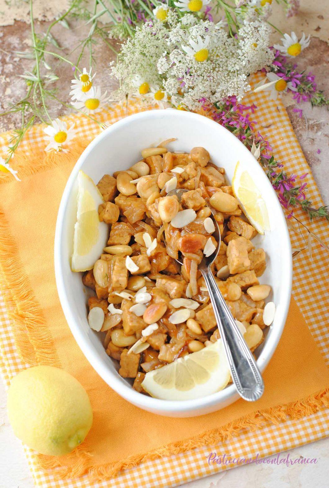 questa immagine rappresenta tempeh Mandorle e Limone ricetta di pasticciandoconlafranca